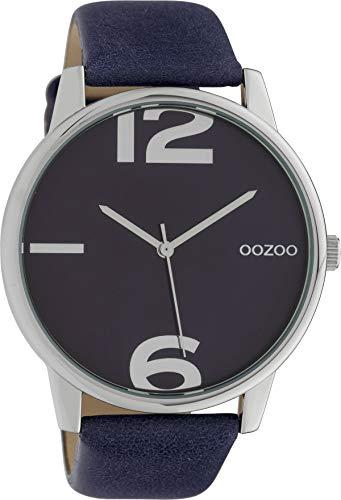 Oozoo Damenuhr mit Lederband 45 MM Silberfarben/Dunkelblau C10372
