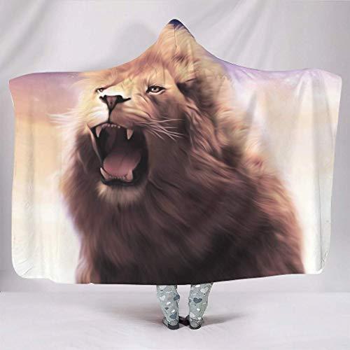 JONINOT Manta Siesta Felpa Sofás Hooded León Rey de los Animales de fantasía W102cmXL127cm Buen sueño