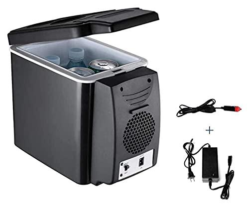 Mini refrigerador silencioso, mini refrigerador Nevera eléctrica de 6 litros para el hogar y el automóvil Caja de frío y calor de doble uso para automóviles y camiones (Color: Negro, Tamaño: 32x17.5x2
