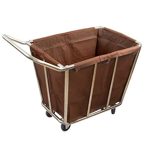 GJX Wäschekorb Wäschesortierwagen Hotel mit Rollen & Griff, kommerzieller Wäschesammler Trolley mit abnehmbarer Tasche, braun