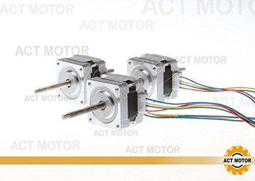 ACT MOTOR GmbH 3PCS 16HSL3404 Nema16 Linear Stepper Motor Bipolar 32mm Body 21Ncm Torque 4Wire 320mm Cable 0.4A with 1.8° 12V for Robot CNC Through Lead Screw