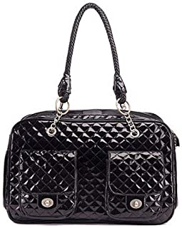 CT COUTUDI Black/White Quilted Designer Inspired Faux Patent Leather Dog & Cat Pet Carrier Tote Handbag Travel Bag