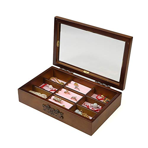 Joyero maleta y almacenamiento Joyería de madera Simple Retro Caja de Almacenamiento...