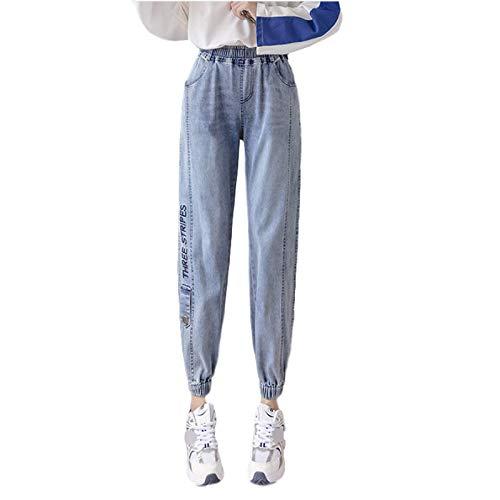 Pantalones Vaqueros Harlan para Mujer, elásticos, Cintura Alta, pies con viga, Ropa de Calle a la Moda, Pantalones de Mezclilla relajados Estampados de Talla Grande XXL