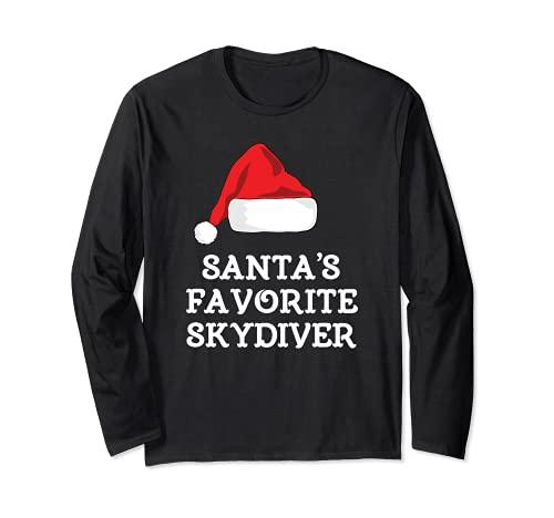Skydiver favorito de Santa Claus divertido regalo de Navidad paracaidismo Manga Larga