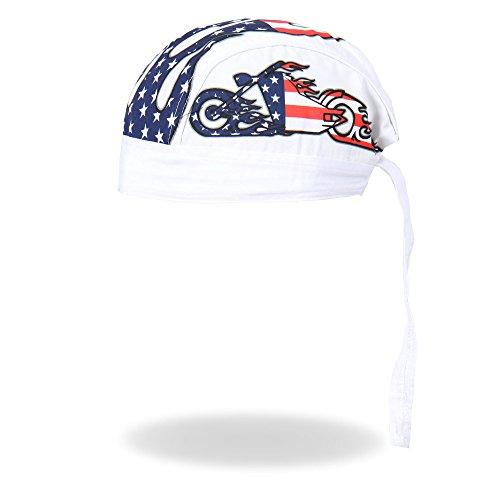 Hot Leathers Chopper Motorcycle American Patriotic Flag Head Wrap Durag Skull Cap Biker