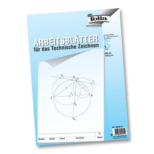 folia 8203/5 - Zeichenpapier, Block mit Arbeitsblättern für technisches Zeichnen, DIN A3, 5 Blatt, 120 g/qm, weiß, mit Vordruck