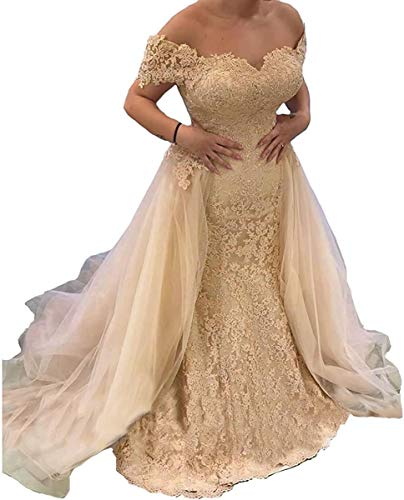 Mermaid Trumpet Off Shoulder lace Bridal Ball Gown Wedding Dresses for Women Bride with Detachable Train Sequins Long Champagne