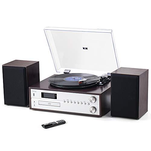 Shuman MC-265DBT Centro de Música de 7 en 1, Altavoces Estéreo, LP (33 y 45 RPM), Reproductor de CD, Radio Dab +, Radio FM, Reproducción USB, Grabación   Bluetooth, Marrón Oscuro
