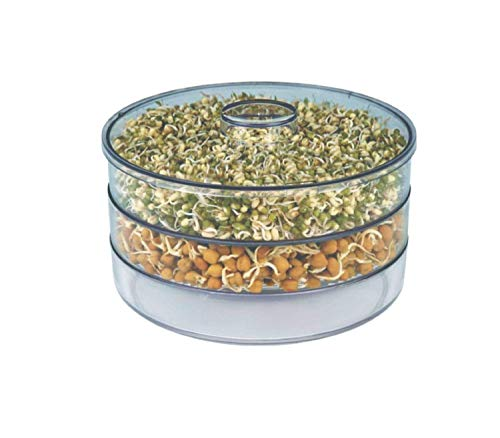 Khandekar Plastic 3 Tiered Hygienic Sprout Maker, Fresh Sprouts Makers for Home & Kitchen, Material Box Container Sprouted Grains Seeds Dal, Chana, Organic Sprouting Jar (17 oz/Each Container)