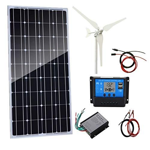 AUECOOR 200 W Wind- und Solar-Set/Hybrid-System-Kit: 100 W Windturbinen-Generator & 100 W monokristallines Solarpanel + Windturbinen-Controller + Solarladeregler + Zubehör