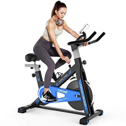 Afully Indoor Exercise Bike Indoor Cycling Bike Stationary,Magnetic Resistance& Belt Drive& Spring Shock Absorber& Tablet Holder Stable and Quiet