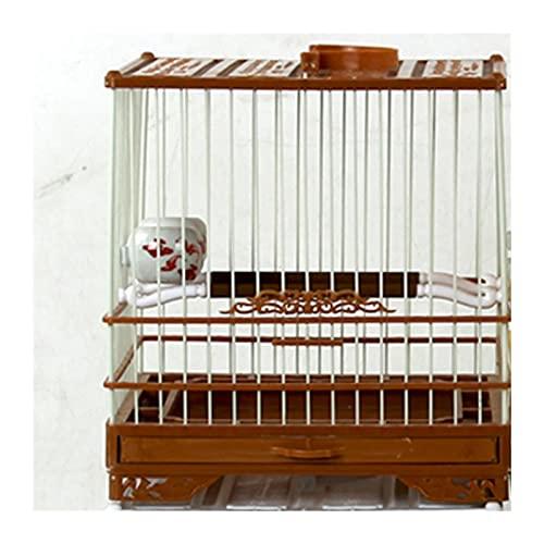 Parrot de jaulas de pájaros Con tapa jaula de plástico pequeños pájaros colgando conchas nido pairhouse loro jaula casa casa al aire libre jaula Para las cockatiels periquitos. ( Color : Brown )