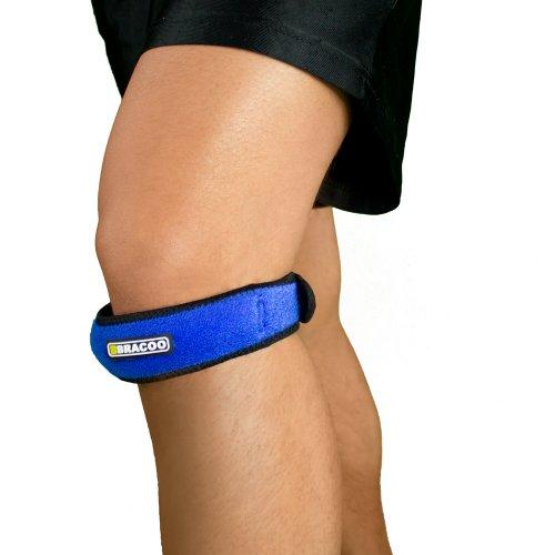 BRACOO KP40 Patellaband - Patella Bandage - verstellbarer Kniegurt fürs Laufen, Wandern und Fußball - blau