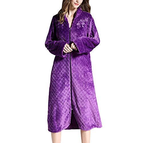 GNLIAN HUAHUA Homewear Las Mujeres Fleece Batas Cierre Central Felpa Kimono Albornoz súper Suaves y cálidos Larga Noche Robe Coat Inicio Ropa, púrpura, XXL Vendaje