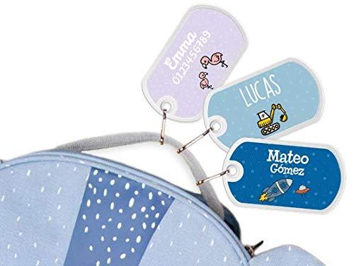 Etiqueta para bolsos, mochilas, maletas personalizadas - Bienpegado, Tamaño: 50 x 28 mm - Perfectas para marcar mochilas escolares, maletas, artículos de aseo, etc. (Color básico)