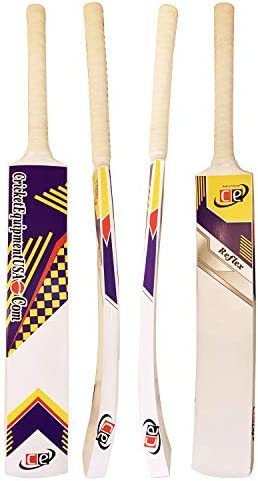 CE Tape Teniis Ball Cricket Bat Painted Wood Reflex Light Weight 1 LB 12 Ozs White Curved Wooden product image