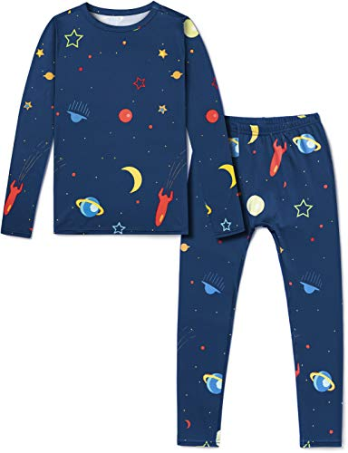 TSLA Kid's & Boy's and Girl's Thermal Underwear Set, Soft Fleece Lined Long Johns, Winter Base Layer Top & Bottom, Boy Thermal Set Galaxy, 12