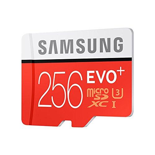 Samsung Speicherkarte Micro SDXC 256GB EVO Plus UHS-I Grade 3, Klasse 10, für Smartphones und Tablets, (mit SD Adapter), rot,weiß