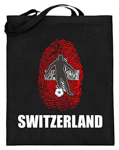 Bolsa de yute de alta calidad (con asas largas) – Camiseta del Mundial de Suiza Rusia 2018 para los fans de los suizos del fútbol con diseño nacional, color Negro, talla 38cm-42cm