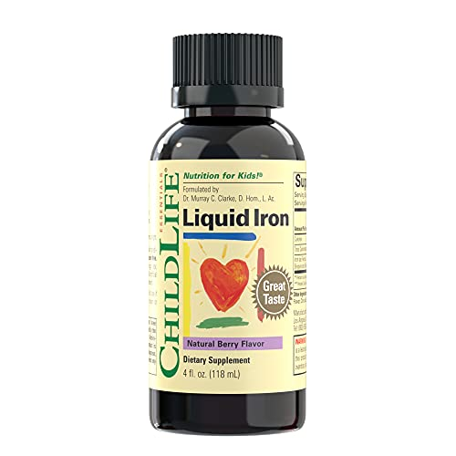 ChildLife Essentials Liquid Iron - Dietary Supplement for Infants, Baby, Kids, Toddlers, Children, and Teens - Natural Berry Flavor, 4 Fluid Ounces