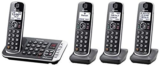 Panasonic Link2Cell Bluetooth DECT 6.0 Expandable Cordless Phone System with Digital Answering System, KX-TGE674B (Renewed)