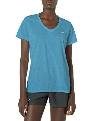 Under Armour Women's Bubble Tech Heather Short-Sleeve V-Neck T-Shirt , Equator Blue (417)/Metallic Silver , X-Large