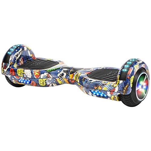 XtremepowerUS Hoverboard w/Bluetooth Speaker Smart Self-Balancing Scooter 2 Wheels Electric Hooverboard UL Certified (Comic Blue)