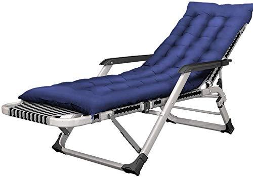 MFLASMF Productos para el hogar s Sillas de Patio reclinables Ajustables Plegables Jardín Ocio Patio Interior al Aire Libre Tumbonas de Playa Tumbonas con cojín Máx.200 kg - Azul
