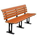 UWY Banco de Ocio para Patio al Aire Libre, Banco de Parque de Madera Maciza anticorrosivo con Patas de Silla de Hierro Fundido, Banco con Respaldo para Muebles de Exterior, Capacidad para 2-3 p