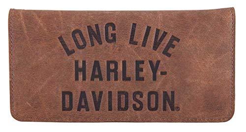 Harley-Davidson Men's Long Live Leather Trucker Wallet w/RFID HDMWA11555-BRN