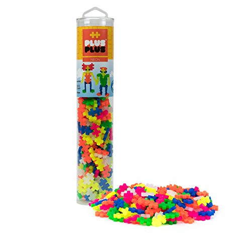 PLUS PLUS – Open Play Tube – 240 Piece Neon Color Mix – Construction Building Stem   Steam Toy, Interlocking Mini Puzzle Blocks for Kids