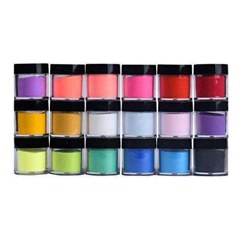 Ouneed Polvere per unghie, 18 colori acrilici per nail art, gel UV, polvere per decorazione 3D fai da te