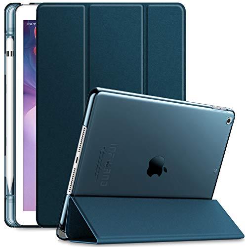 INFILAND Hülle für iPad 10.2 Inch, iPad 7th Generation 2019/ 8th Generation 2020, Superleicht Transluzent Smart Schutzhülle Hülle mit Pencil Halter, Auto Schlaf/Wach,Dunkleblau
