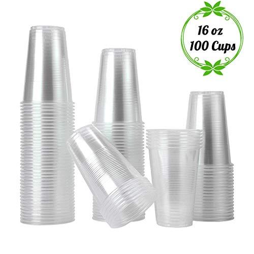 TashiLiving Einweg-Kaffeetassen aus Kunststoff, 454 ml, transparent, für heiße und kalte Getränke, Behälter für Wasser, Tee, Saft, Limonade, Milch, 473 ml, BPA-frei