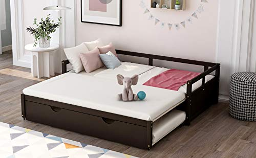 Extending Daybed with Trundle, Wooden Daybed with Trundle, Espresso