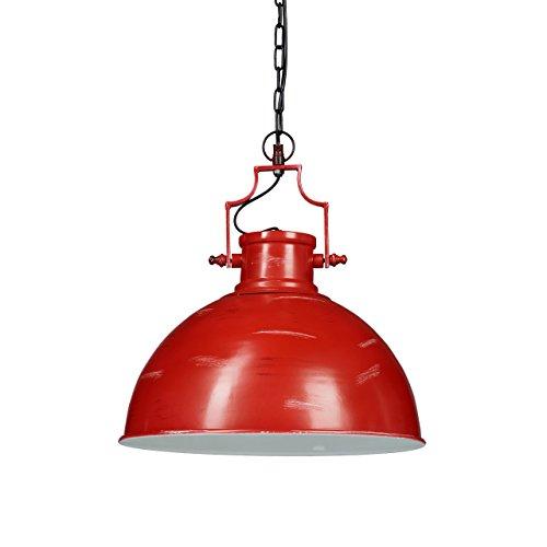 Relaxdays Hängelampe Industrial, Eisen, Kette, neigbar, einflammig, schwarz-weiße Akzente, HxBxT: 154 x 41 x 41 cm, rot