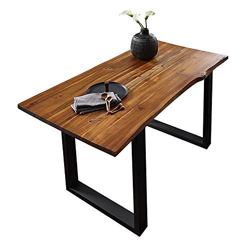 SAM® Stilvoller Esszimmertisch Ida aus Akazie-Holz, Baumkantentisch mit lackierten Beinen aus Roheisen, naturbelassene Optik mit Einer Baumkanten-Tischplatte, 200 x 100 cm