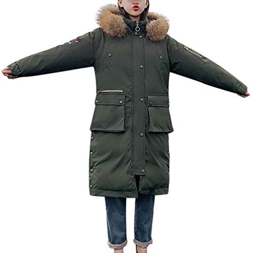 SHOBDW Damen Winterjacke Wintermantel Lange Daunenjacke Jacke Outwear mit Kapuzen Frauen Winter Warm Daunenmantel Solide Lässig Dicker Winter Slim Down Jacke Mantel Faux Fellkapuze