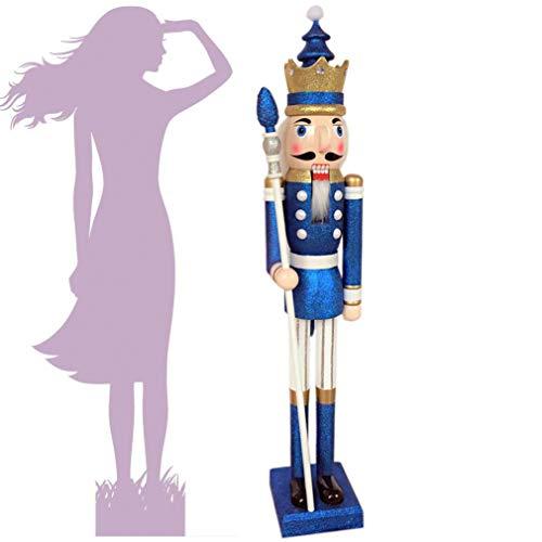 CDL XL/5 pies/150 cm/5 pies/5 pies/150cm tamaño real grande/gigante azul brillo Navidad Cascanueces de madera rey...