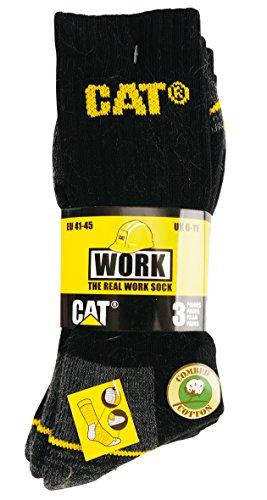 Caterpillar Real Work Arbeitssocken 3er Pack Chaussettes, Noir (Black), 40/46 (Herstellergröße: 41-45) (Lot de 3) Homme