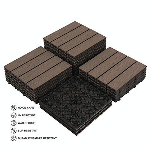 "PANDAHOME 22 PCS Wood-Plastic Composites Patio Deck Tiles, 12""x12"" Interlocking Decking Tiles, Water Resistant for Indoor & Outdoor, 22 sq. ft - Brazilian Ipe"