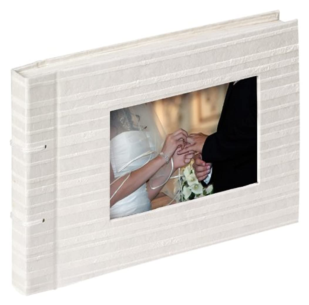 Walther FA-104-S 24 x 16 cm Wedding Stripes Photo Album with Cord Binding 40 White Pages/Picture Detail Handmade Uncoated Paper