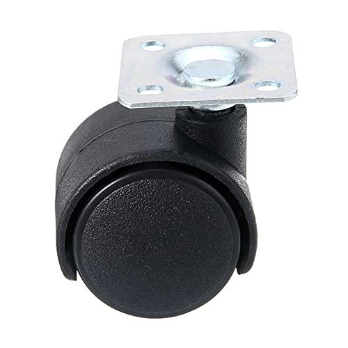 ZXVC 4 unids Black Swivel Plate Caster 30mm Nylon Silla de Ruedas Mesa de recinetado Ruedas de reemplazo para Muebles industriales 605