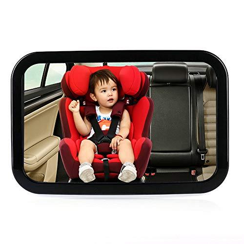 Espejo Retrovisor Coche,bebé coche espejo para Vigilar al Bebé en el Coche,360° Ajustable Espejo Coche Bebé, para Los Asientos de Niños Orientados Hacia Atrás,300 x 190mm