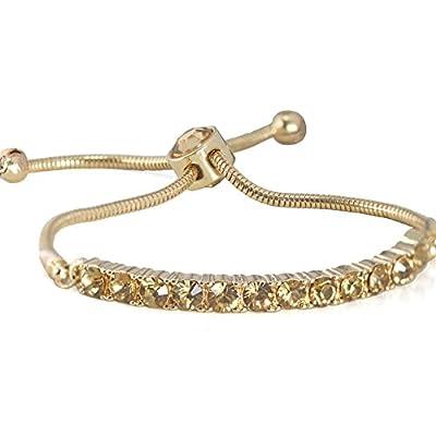 ZSE Strand Bracelet Slider Silver Micro Pave Tennis Bracelet for Women Graduation Gifts
