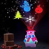 Luz de Noche LED para decoración navideña - Luces de proyector de muñeco de Nieve con patrón Giratorio de 4 Colores Árbol de Navidad de muñeco de Nieve, Copo de Nieve, Campana para Adornos navideños