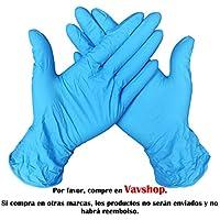 Guantes Desechable Nitrilo sin polvo, en Small, Medium, Large Caja 100 Unidades (L, Azul)
