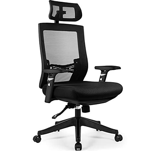 Aiidoits Bürostuhl, Ergonomischer Schreibtischstuhl, Einstellbare Lendenstütze, Höhenverstellbarer Armlehne Kopfstütze, Netzrückenlehne mit wippfunktion, Office Chair 150kg belastbar.