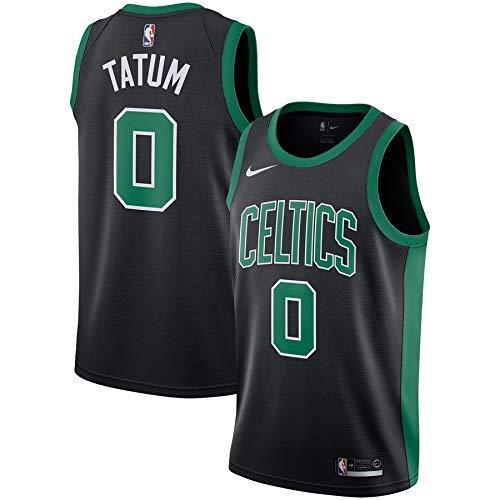 Lalagofe Jason Tatum Boston Celtics #0 Nera Basket Jersey Maglia Canotta, Swingman Ricamata, Stile di Abbigliamento Sportivo (S, Nero)